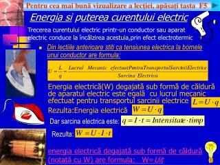 Energia si puterea curentului electric