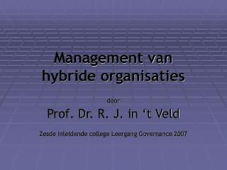 Management van  hybride organisaties