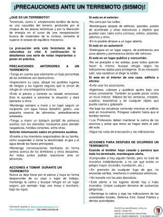 PRECAUCIONES ANTE UN TERREMOTO SISMO