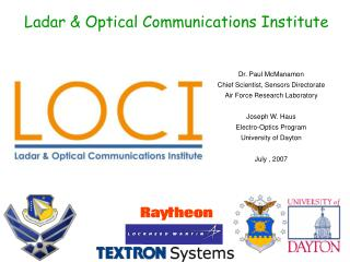 Ladar  Optical Communications Institute