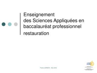 Enseignement  des Sciences Appliqu es en baccalaur at professionnel restauration