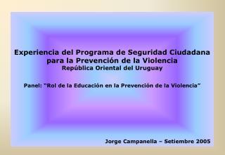 Experiencia del Programa de Seguridad Ciudadana para la Prevenci n de la Violencia Rep blica Oriental del Uruguay   Pane