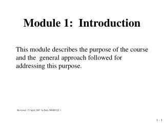 Module 1:  Introduction