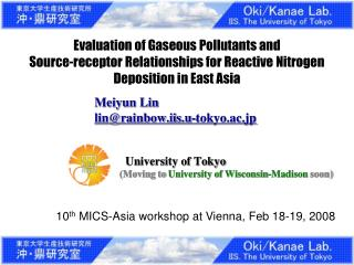 Evaluation of Gaseous Pollutants and  Source-receptor Relationships for Reactive Nitrogen Deposition in East Asia