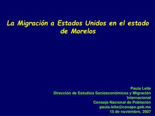 La Migraci n a Estados Unidos en el estado de Morelos
