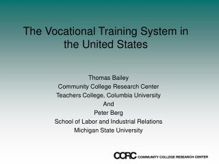 The Vocational Training System in the United States