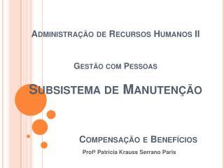 Administra  o de Recursos Humanos II   Gest o com Pessoas  Subsistema de Manuten  o