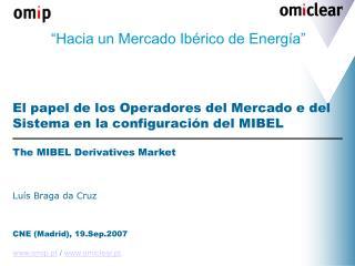 Hacia un Mercado Ib rico de Energ a     El papel de los Operadores del Mercado e del Sistema en la configuraci n del MI