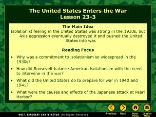 The United States Enters the War Lesson 23-3