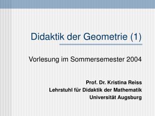 Didaktik der Geometrie 1