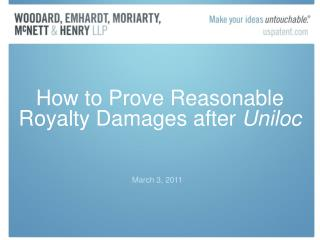 How to Prove Reasonable Royalty Damages after Uniloc
