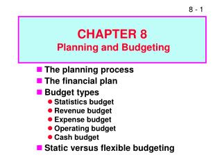 The planning process The financial plan Budget types Statistics budget Revenue budget Expense budget Operating budget Ca