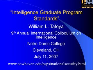 Intelligence Graduate Program Standards