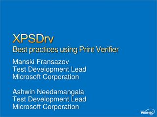 XPSDrv Best practices using Print Verifier