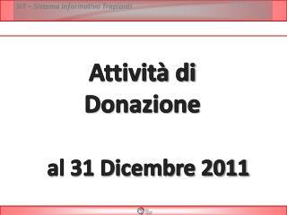 Attivit  di  Donazione     al 31 Dicembre 2011