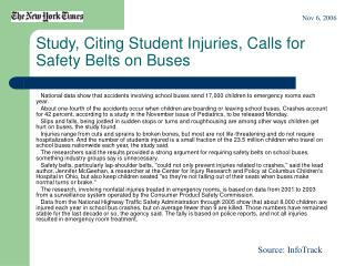 Study, Citing Student Injuries, Calls for Safety Belts on Buses