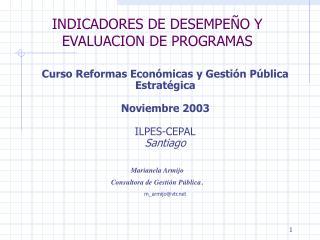 INDICADORES DE DESEMPE O Y EVALUACION DE PROGRAMAS