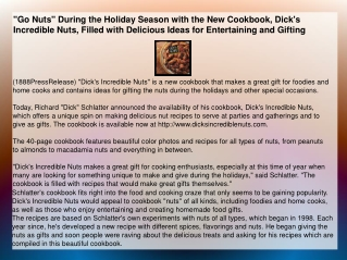 """Go Nuts"" During the Holiday Season with the New Cookbook"