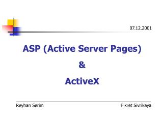 ASP Active Server Pages  ActiveX