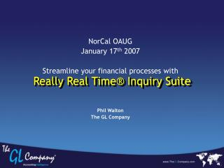 Really Real Time  Inquiry Suite