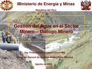 Ing. Fredesbindo V squez Fern ndez Direcci n General de Asuntos Ambientales Mineros