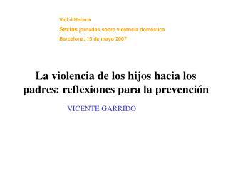 Vall d Hebron Sextas jornadas sobre violencia dom stica Barcelona, 15 de mayo 2007