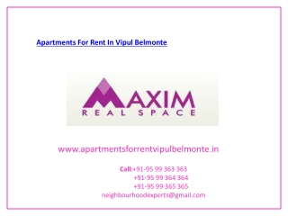 Apartments For Rent In Vipul Belmonte
