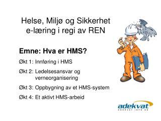 Emne: Hva er HMS  kt 1:  Innf ring i HMS  kt 2:  Ledelsesansvar og    verneorganisering  kt 3:  Oppbygning av et HMS-sys