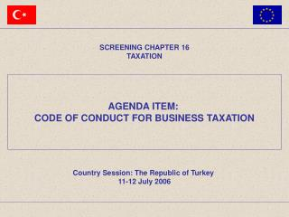 AGENDA ITEM:  CODE OF CONDUCT FOR BUSINESS TAXATION