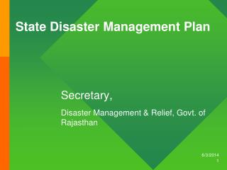 State Disaster Management Plan