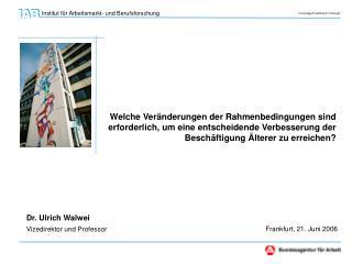 Dr. Ulrich Walwei Vizedirektor und Professor