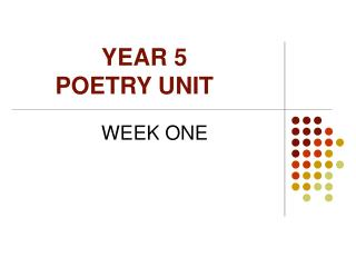 YEAR 5  POETRY UNIT