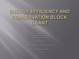 Energy Efficiency and Conservation Block grant