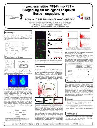 Hypoxiesensitive [18F]-Fmiso PET   Bildgebung zur biologisch adaptiven Bestrahlungsplanung