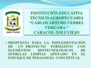 INSTITUCI N EDUCATIVA T CNICO-AGROPECUARIA  CARLOS ARTURO VERBEL VERGARA   CARACOL-TOLUVIEJO