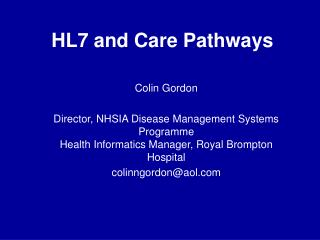 HL7 and Care Pathways