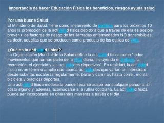 Importancia de hacer Educaci n F sica los beneficios, riesgos ayuda salud