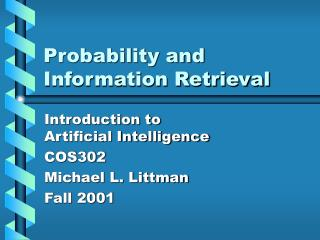 Probability and Information Retrieval