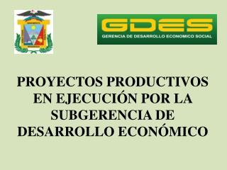 PROYECTOS PRODUCTIVOS EN EJECUCI N POR LA SUBGERENCIA DE DESARROLLO ECON MICO