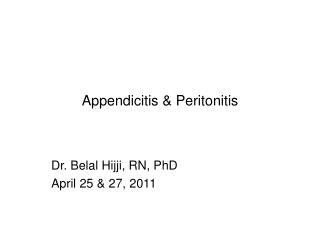 Appendicitis  Peritonitis
