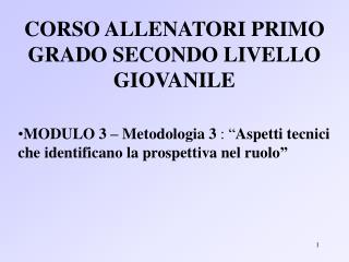 CORSO ALLENATORI PRIMO GRADO SECONDO LIVELLO GIOVANILE