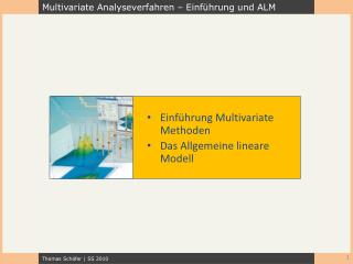 Einf hrung Multivariate Methoden Das Allgemeine lineare Modell
