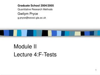 Module II Lecture 4:F-Tests