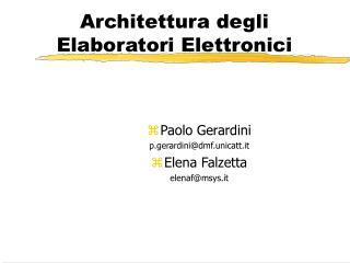 Architettura degli Elaboratori Elettronici