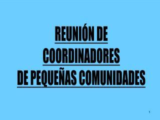 REUNI N DE COORDINADORES DE PEQUE AS COMUNIDADES