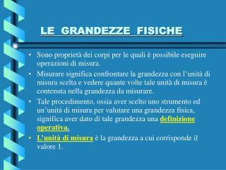 LE  GRANDEZZE  FISICHE