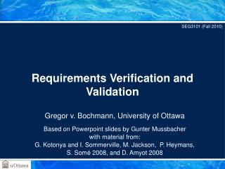 Requirements Verification and Validation