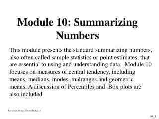 Module 10: Summarizing Numbers