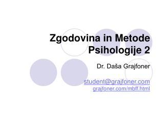 Zgodovina in Metode Psihologije 2