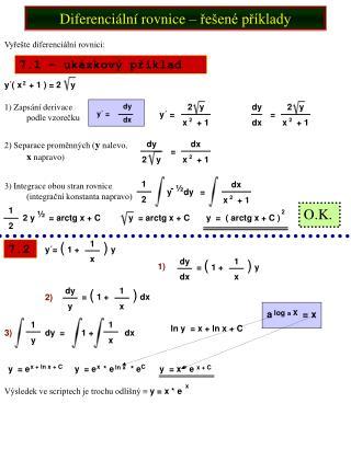 Diferenci ln  rovnice   re en  pr klady